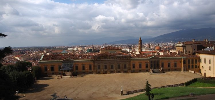 Veduta sul piazzale della Meridiana nel Giardino di Boboli a Firenze.